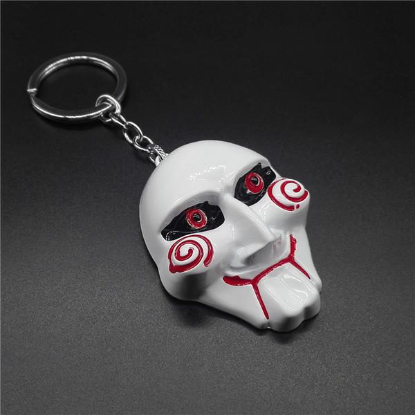Saw Keychain Punk Funny Face Key Chain Lifelike Horror Avatar Mask Key Chains Alloy Pendant Men And Women Car Key Ring