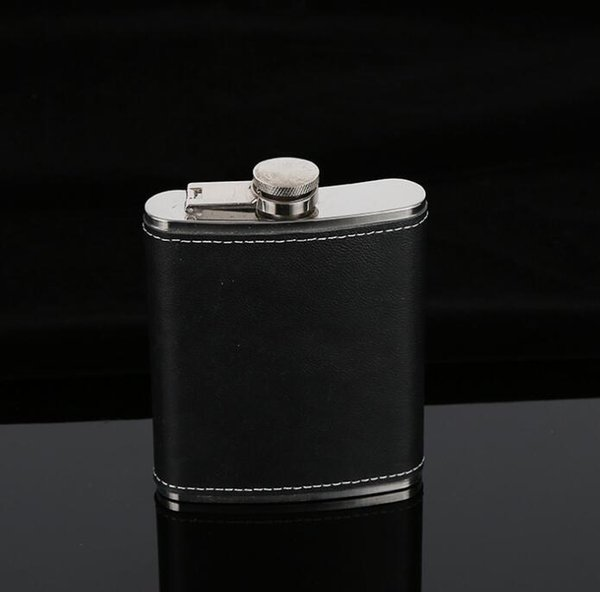 Hip Flask Stainless Steel Flagon Wine Pot Outdoor Portable PU Leather Cover Hip Flasks Whiskey Bottle GGA663 40PCS