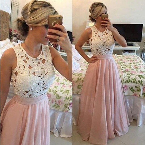 2019 Hot Selling A Line Floor Length Chiffon White Lace Pearls Long Prom Dresses Sexy Fashion Cheap Evening Women Party Gowns