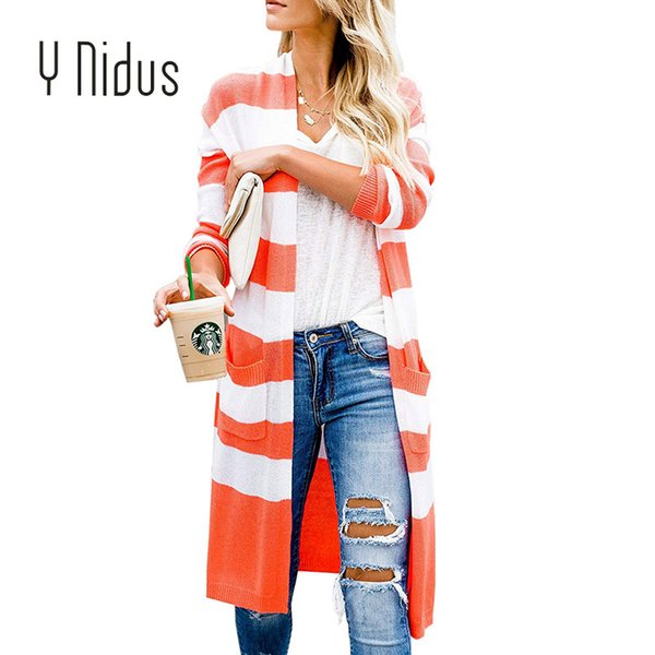 Women Cardigan Female Casual Striped Befree Cardigans Long Sleeve Knit Jersey Lightweight Block Open Front Sweater With Pockets