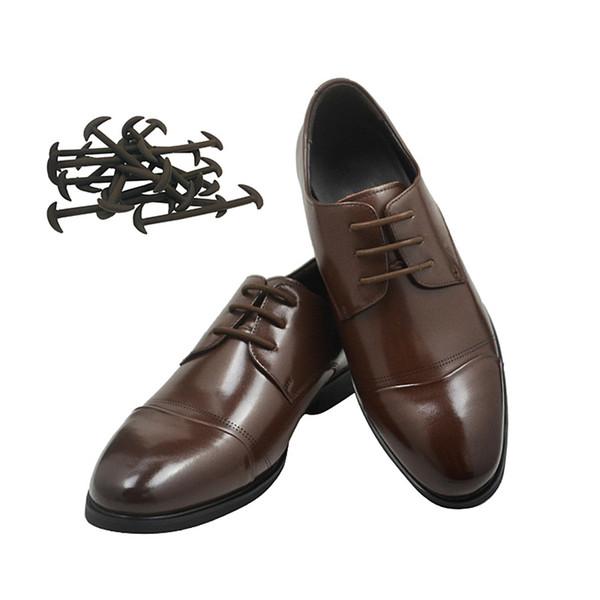 Deri ayakkabı ayakkabı bağı elastik silikon ayakkabı bağı 12 adet / takım Erkekler ayakkabı ayakkabı siyah ile renkle ...