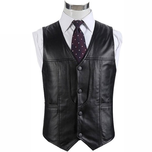 Mens genuine leather fur motorcycle vest suit Men sheepskin casual vests waistcoat winter multi pocket warm sleeveless jacket