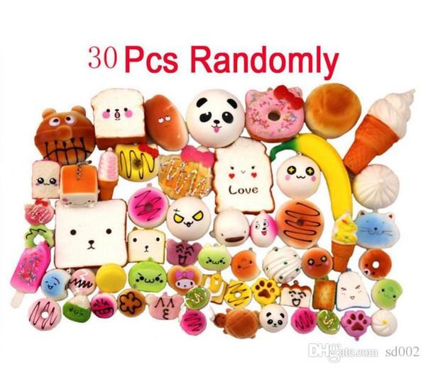 PU Yavaş Yükselen Squishies Kawaii Çanta Cep Telefonu Charms Yumuşak Tost Donut Ekmek Dondurma Muz Şekli Çocuk Oyuncakları 42ct3 ii