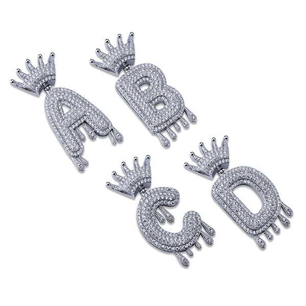 Hip Hop Iced Out A-Z Custom Name Crown Drip Letter Pendant Necklace Chain Gold Silver Color Cubic Zircon Jewelry