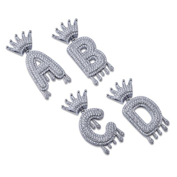 Hip Hop Iced Out A-Z Kein Name Krone Tropf Brief Anhänger Halskette Kette Gold Silber Farbe Kubikzircon Schmuck