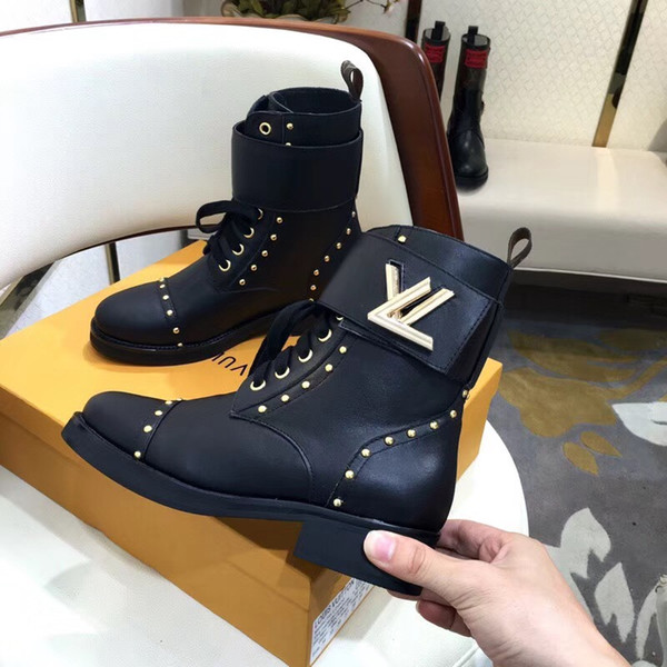 Fashion New Womens Knight Boots Cowboy Shoes Platform Ankle Boots Genuine Leather Buckle Designer Luxury Winter Black Shoes Size 35-41