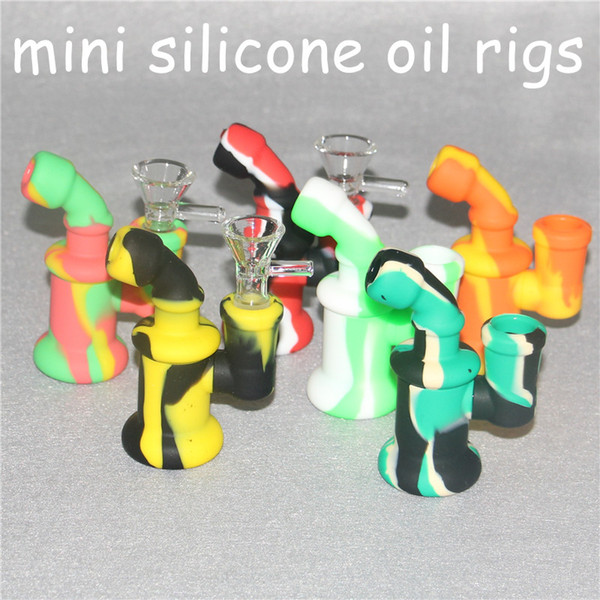 Hot Silicone Oil Burner Bubbler water bong pipe small burners pipes bubbler dab rigs Oil rig for smoking Hot Popular mini heady Bongs