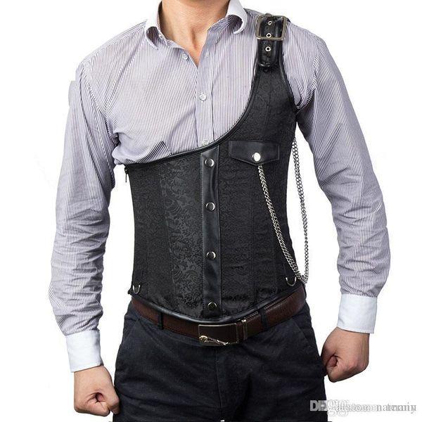 Men/'s Waistcoat Vest Black Brocade Gothic Steampunk VTG //USA