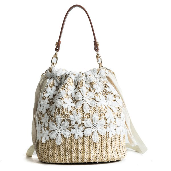 MSGHER Summer White Lace Straw Bags Mujeres Beach Crossbody Buckets Vintage White Embroidery Small Shoulder Bags Party Bolsos