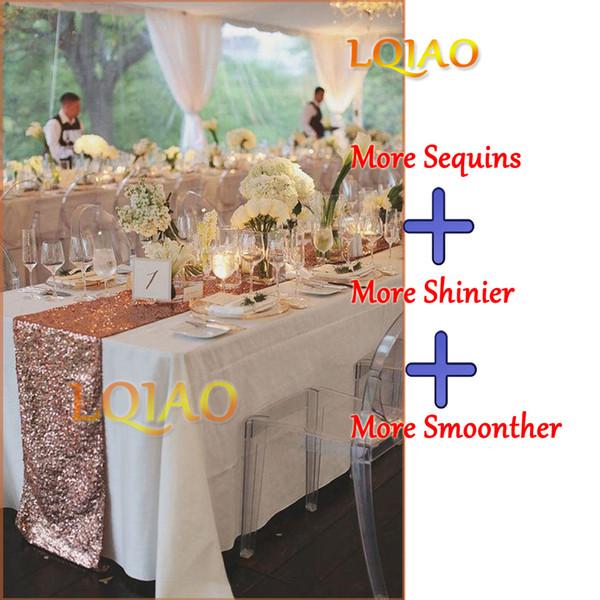 LQIAO 3 MM Sequin Table Runner Glitter Rose Or Table Flag Parti Fournitures Tissu Décor Pour La Maison De Mariage Anniversaire Bébé Douche