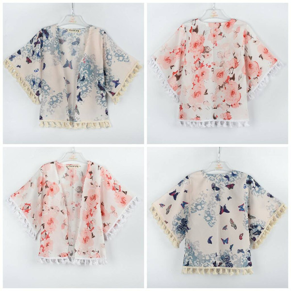 Girls Floral Caps Poncho with Tassels Flower Printed Half Wide Sleeve Ramie Spring Autumn Tops Outfit baby girl clothes 1-5T BY0227