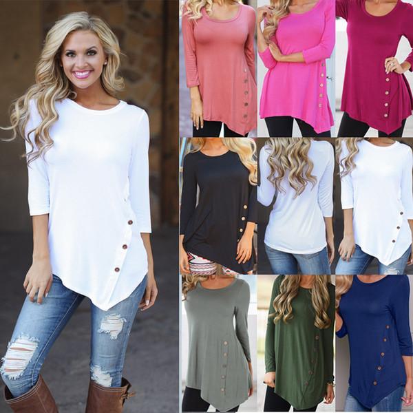 S-6XL Plus Size Women Irregular Long Sleeve Shirt Spring Autumn Casual Loose Button T Shirt Blouse Fashion Design Round Neck Sweatshirt