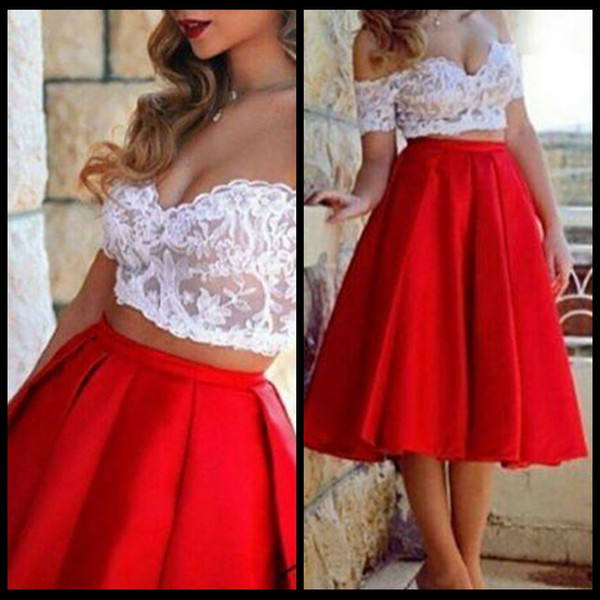 Two Piece Red Short Prom Dresses 2018 Sexy Off Shoulder Short Sleeves Lace Top Illusion Bodice White Red Cocktail Dresses Short Party Dress
