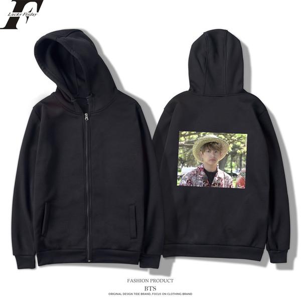 BTS Zipper Harajuku Casual Tuta Style BTS Kpop Jungkook Cool And Fashion Style Hawaii Spring Felpe Men / Women Felpa con cappuccio 4XL