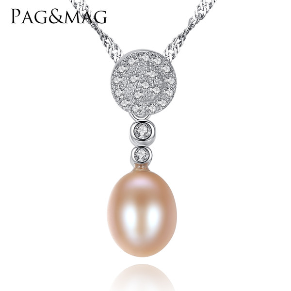 PAG&MAG Brand Sterling Silver Jewelry Chain 925 Necklaces Top Quality 8-9mm Freshwater Pearl Charm Pendent For Women Collier