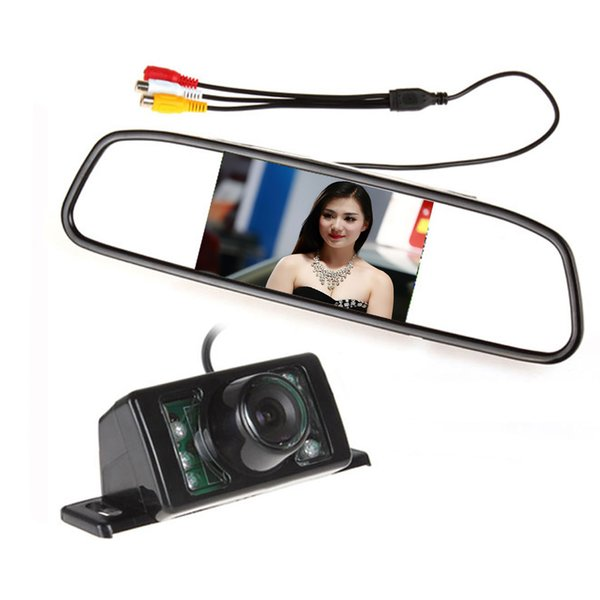 "Parking Kit With 4.3"" TFT LCD Display Car Rear View Mirror Monitor + 7 IR Night Vision RearView Reversing Backup Camera"