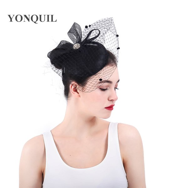 2018 New arrival bridal sinamay hair fascinators headbands wedding veils hats cover face headwear with bow headpiece party race SYF339