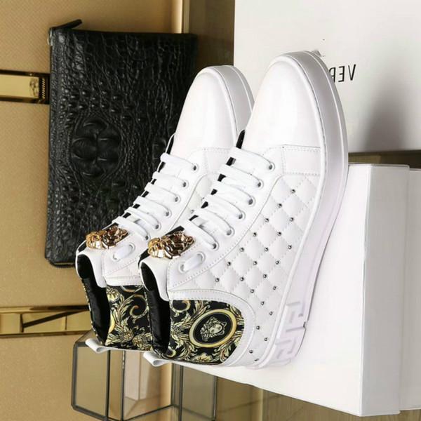 Moda yeni gelgit erkekler yüksek ayakkabılar baskılı rahat ayakkabılar rugan tasarımcı dantel koşu ayakkabıları (kutu ile)