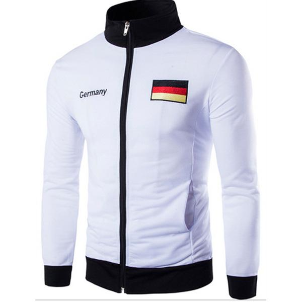 Free Shipping Men's Casual Jacket Men's Germany Spain American Flag Embroidery Design Fashion Jacket