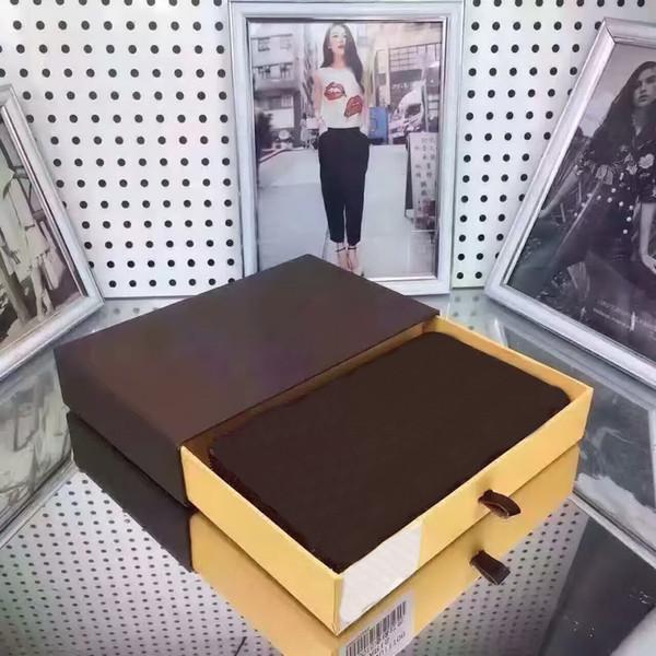2018 الشهيرة المرأة جلدية حقيقية طويلة واحدة سستة محفظة محفظة حامل البطاقة الكلاسيكية zippey جيب قناع chaine 60017 60015 مع صندوق gc # 13 أكياس