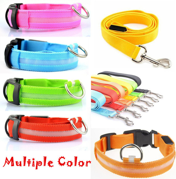 Led Pet Dog Puppy Cat Kitten Soft Glossy Reflective Collar And Leash Safety Buckle Pet Supplies Products Colorful DHL
