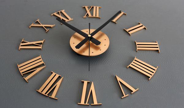 3D DIY Home Decor Large Roman Mirror Fashion Modern Quartz Clocks Living Room Diy Wall Clock Watch Stylish Wall Clock