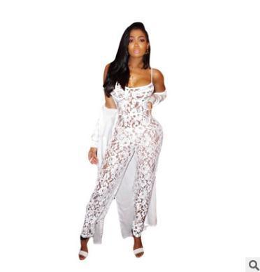 27a7eebb8a85 Summer women jumpsuits fashion rompers New sexy lace sling pencil pants  White backless Hollow out jumpsuits