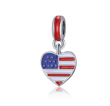 Fits Pandora Bracelets 30pcs American flag EnameCharms Beads Silver Charms Bead For Wholesale Diy European Necklace Jewelry Accessories Xmas