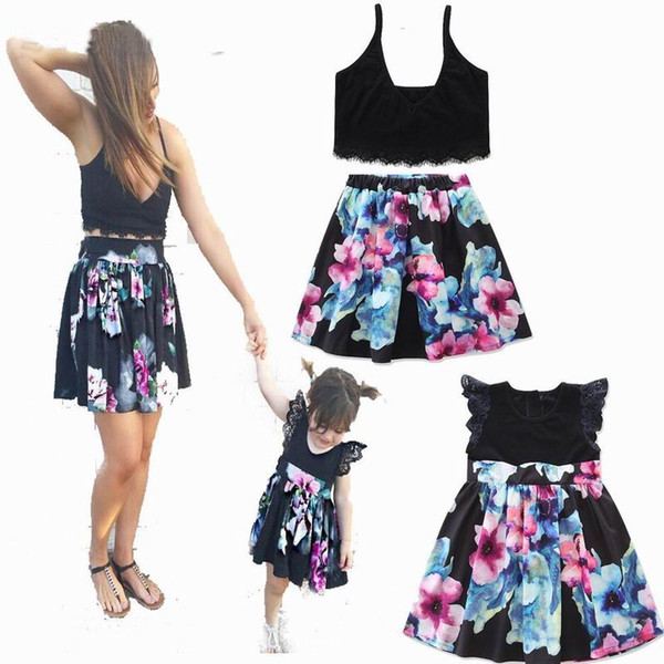 Summer New Design Mother Kids Family Matching Outfits Black Print Mother Sets Daughter Dresses E17607