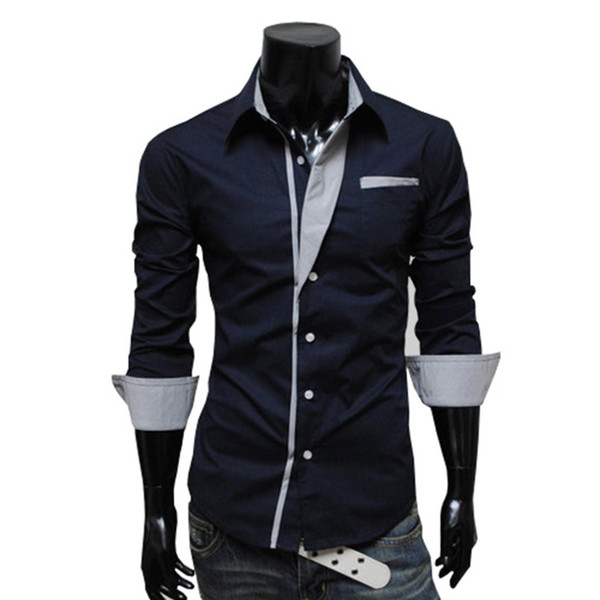 2018 Men Fashion Casual Long Sleeved Printed shirt Slim Fit Male Social Business Dress Shirt British Style Mens shirts Clothing