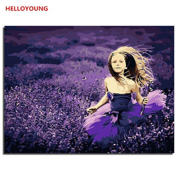 HELLOYOUNG Digital Pintura pintada a mano de pintura al óleo Lavender Girl de números de pinturas al óleo se desplazan pinturas de dibujo imagen