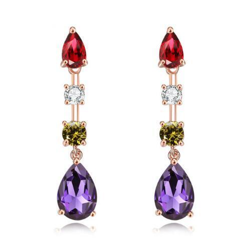 Luxury Colorful Trendy Rose Gold Color Red Purple Drop Earrings Women's AAA Cubic Zirconia Jewelry Wedding Dangle Earring