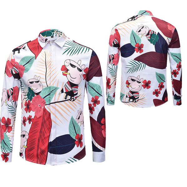 freie Lieferung 2018 neue lange Hülsen-Art- und Weiseblumen-Hemd-Männer 3D Druck-Marken-beiläufige Kleidung Medusa-langes Hülsen-Hemd M-XXL