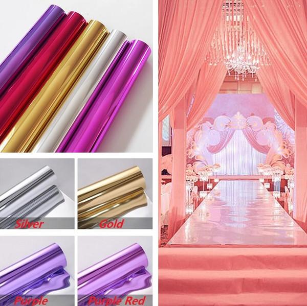 20 m por lote 1 m de ancho Brillo de plata Espejo Alfombra corredor corredor para la boda romántica favores decoración de la boda decoración del partido I135