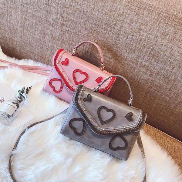 2017 Yeni Güney Kore eğlence kare çanta çanta dokuma kalp şeklinde PU satchel Mini Omuz