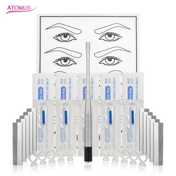 32pcs/set Eyebrow Tattoo Practice Blue14pin Tattoo Blade Shaving Knife Small Undivided Tattooing Color Cup Silver Cobra Tattoo Pen Kit Set