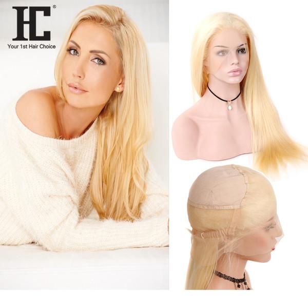 HC Cheveux Blonde 613 Couleur Brésilienne Remy de Cheveux Humains Pleine Perruques de Lacet Droite Cheveux Dentelle Perruque Avec le Titre Naturel