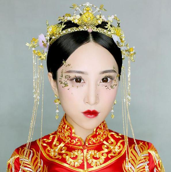Show Wo clothing tiara bridal hair accessories Chinese tassel step phoenix golden palace hair accessories dragon phoenix wedding suit