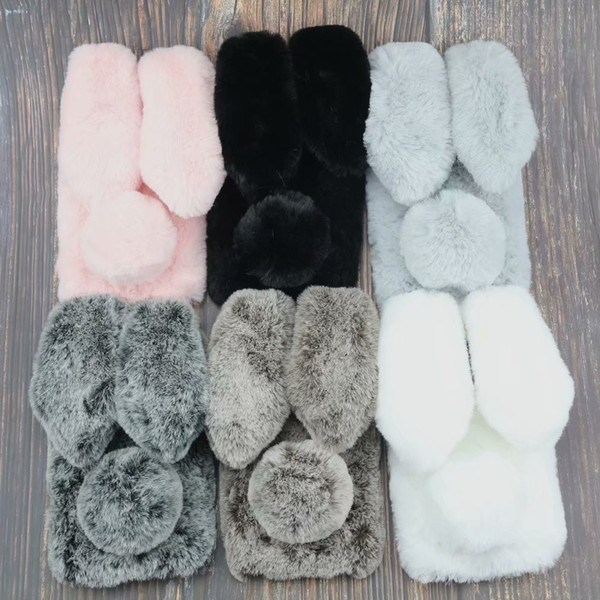 3D Rabbit Ear Case For LG K8 2018 Huawei Max 3 S2 Redmi Note 5 Pro 6 ProRabbit Hair Bling Diamond Fluffy Fur Cover Soft TPU Gel Phone Skins