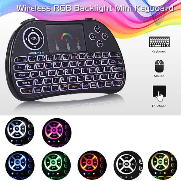 top popular Mini I8 Backlit Wireless Touchpad Keyboard Air Mouse Multifunction For PC Pad Android TV Box with Retail Package 2021