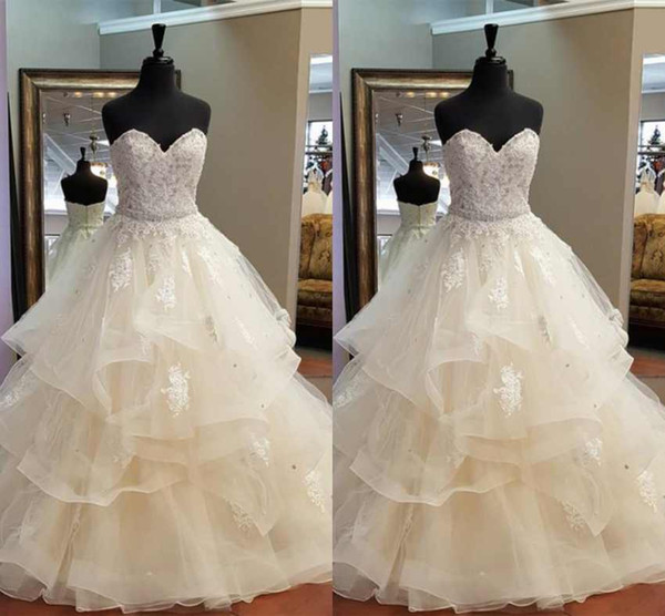 Gorgeous A-Line Ruffles Wedding Dresses Sweetheart Strapless Crystal Bridal Gowns Beautiful Bridal Dresses 100% Real Photos
