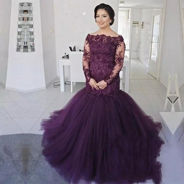 purple evening gowns mermaid off shoulder long sleeve sweep train prom dresses with lace beads tulle formal party prom gowns dh4182, Black;red