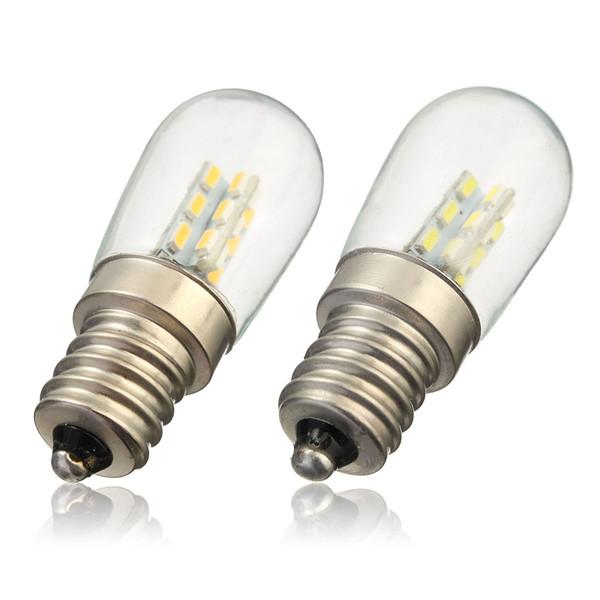 Ampoule E12 2W 3014 SMD 24 LED haute lampe d'ombrage en verre brillant blanc chaud pur allumant 220V pour le réfrigérateur de machine à coudre
