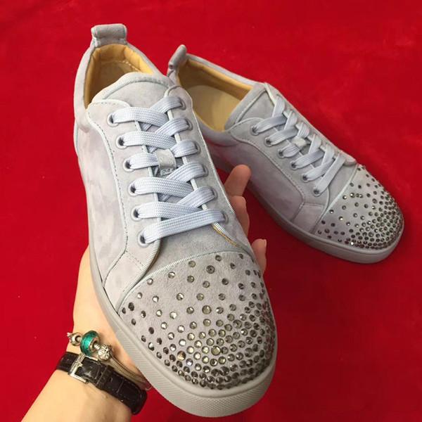 Original Box,EU35-46 Fashion Designer Men,Women Gray Leather Spikes Trainer Low Top Red Bottom Casual Sneakers Luxury Wedding Dress