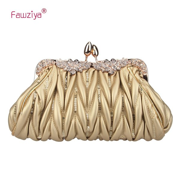 Fawziya Kiss Lock Crystal Flower Purse Clutch Handbag For Ladies Sequins Evening Party Small Bags