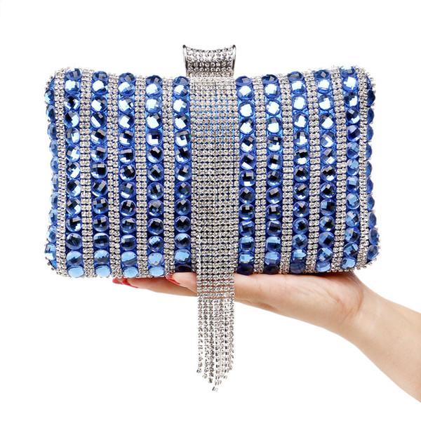 2018 New Clutch Bag Rhinestones Tassel Diamonds Beaded Metal Chain Shoulder Evening Bags Lady Handbags Wedding Party Evening Bag