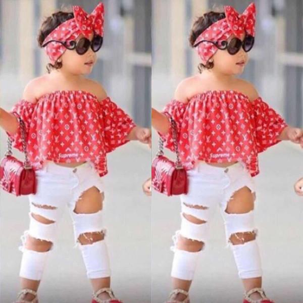 3 adet Suit Kız Elbise Yaz Bebek Kapalı Omuz Tops + kot + kafa Giyim Seti robe Için 2 3 4 5 6 7 Yıl BB430