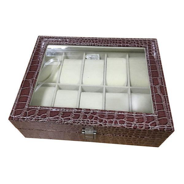Faux Leder Watch Case Speicher Display Box Veranstalter Schmuck Glas Top Größe: 10 Grid Krokodil braun