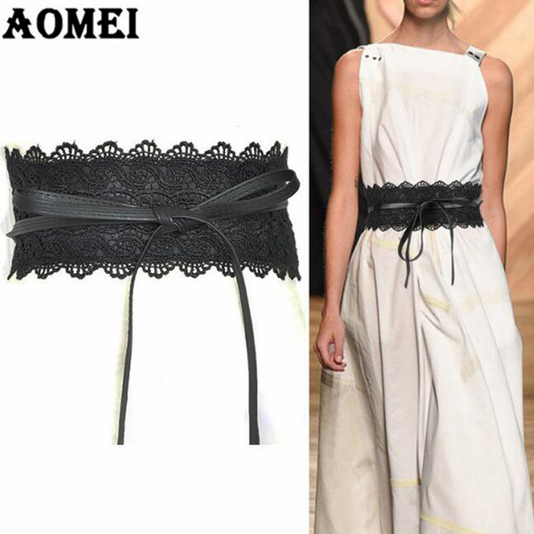 Black Lace and Leather Patchwork Wide Waist Belts for Dresses Women Fashion 2018 Vintage Yellow Pink Trending Gold Boho Belt