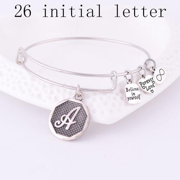 Wholesale- American Expandable Bracelets Silver Ancient A-Z Initial Letter Alphabet Charm Bracelet Adjustable Wire Wrap Cuff Bangle Women